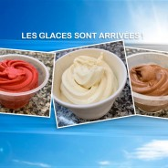 Glaces artisanales chocolat, vanille ou framboise